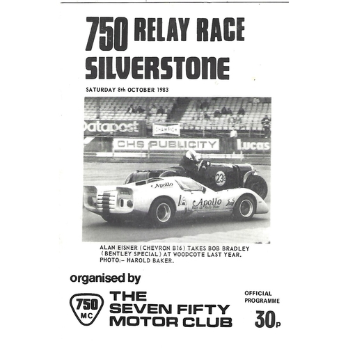 1983 Silverstone 750 Relay Race (08/10/1983) Motor Racing Programme