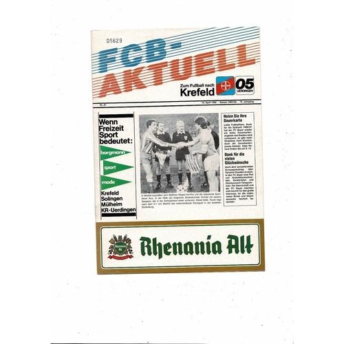 1985/86 Atletico Madrid v Bayern Uerdingen European Cup Winners Cup Semi Final Football Programme