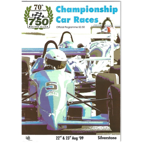 2009 Silverstone 750 Motor Club Championship Car Races Meeting (22-23/08/2009) Motor Racing Programme & Event Entry Ticket +Timing/Race Result Sheets