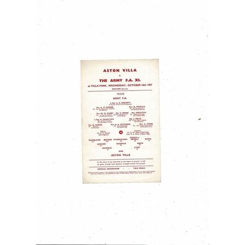 Aston Villa v Army Friendly Football Programme 1957/58