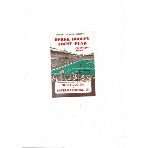 Sheffield v International X1 Friendly Football Programme 1954/55 @ Hillsborough Derek Dooley Trust Fund