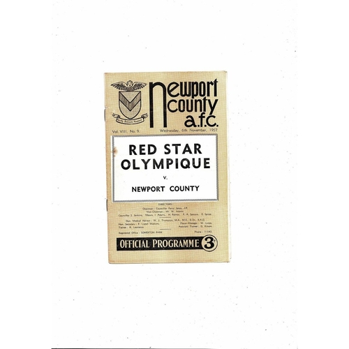 Newport County v Red Star Friendly Football Programme 1957/58