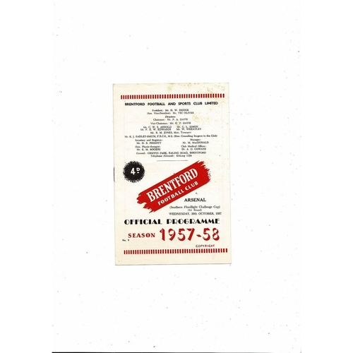 Brentford v Arsenal Southern Floodlight Cup Football Programme 1957/58