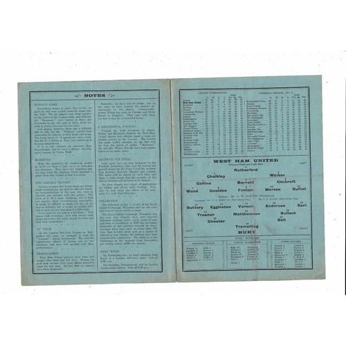 1933/34 West Ham United v Bury Football Programme
