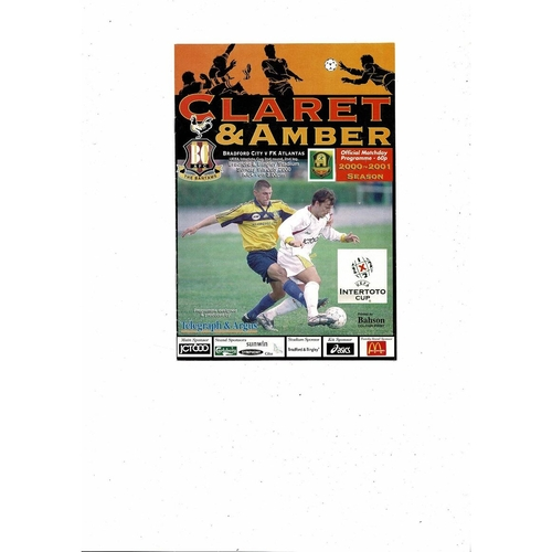 2000 Bradford City v Atlantas InterToto Cup Football Programme