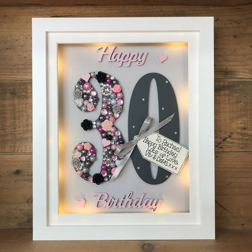 LED  Happy 30 th birthday frame