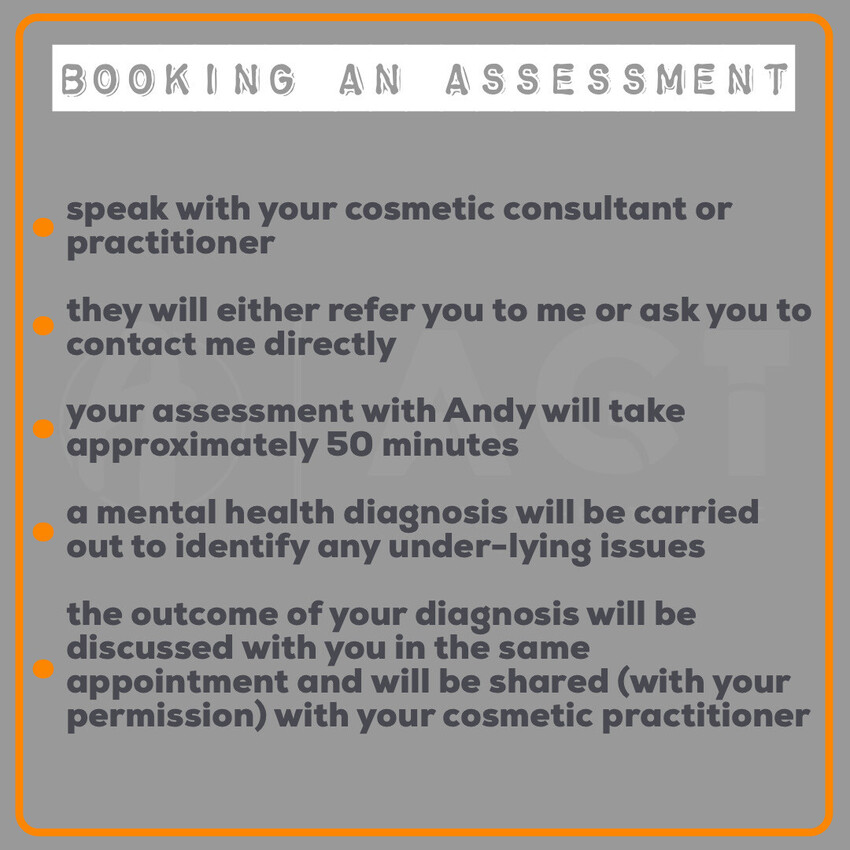 Andy Garland Therapies - Counselling Cardiff - Mental Health Services Cardiff - Cardiff Therapists - pre-assessment for aesthetic and cosmetic procedures