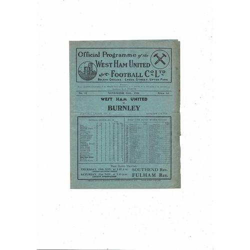1936/37 West Ham United v Burnley Football Programme