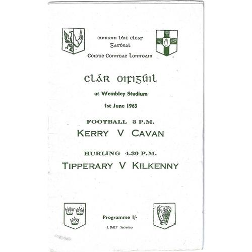 1963 Wembley Gaelic Games (Kerry v Cavan & Tipperary v Kilkenny) Programme