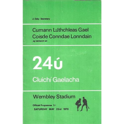 1970 Wembley Gaelic Games (Offaly v Mayo & Cork v Kilkenny) Programme