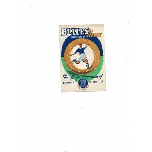 1950/51 Birmingham City v Coventry City Football Programme