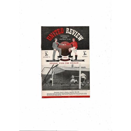 1950/51 Manchester United v Sheffield Wednesday Football Programme