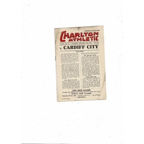 1952/53 Charlton Athletic v Cardiff City Football Programme