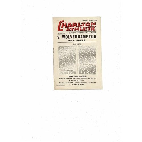 1952/53 Charlton Athletic v Wolves Football Programme