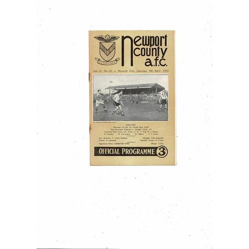 1952/53 Newport County v Norwich City Football Programme