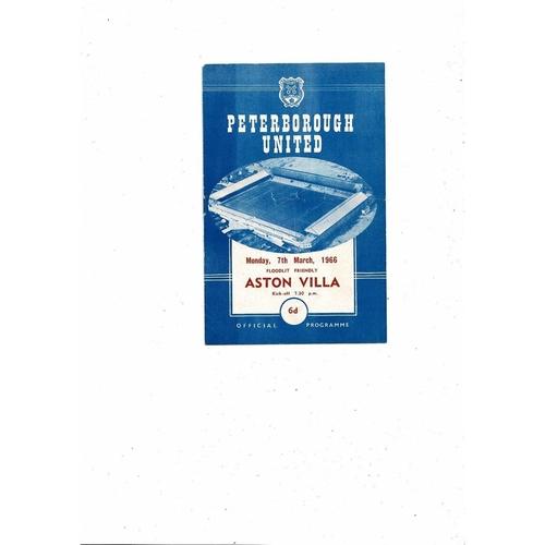 Peterborough United v Aston Villa Friendly Football Programme 1965/66