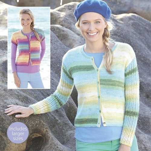 Ribbed Sleeve Short Cardigan Pattern 8114