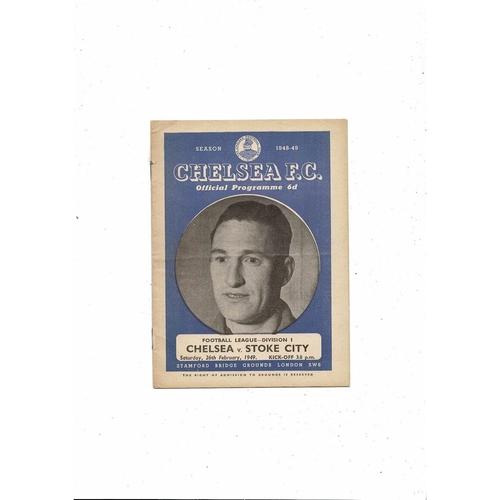 1948/49 Chelsea v Stoke City Football Programme