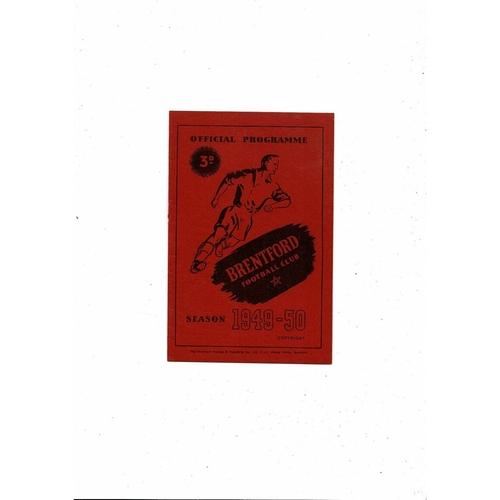 1949/50 Brentford v Hull City Football Programme