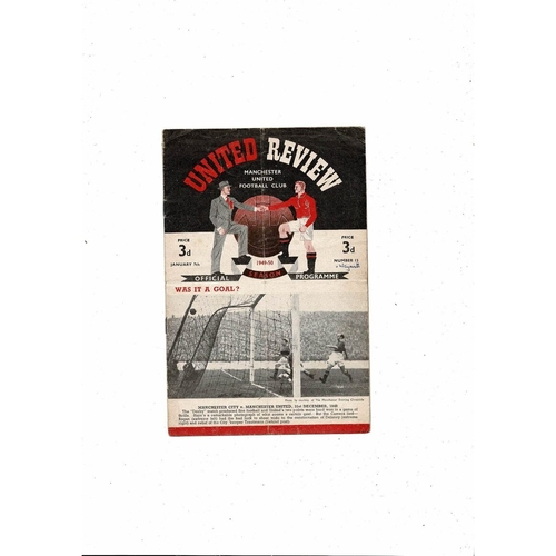 1949/50 Manchester United v Weymouth FA Cup Football Programme