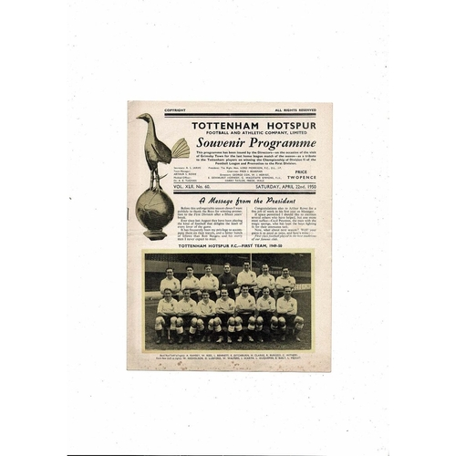 1949/50 Tottenham Hotspur v Grimsby Town Football Programme
