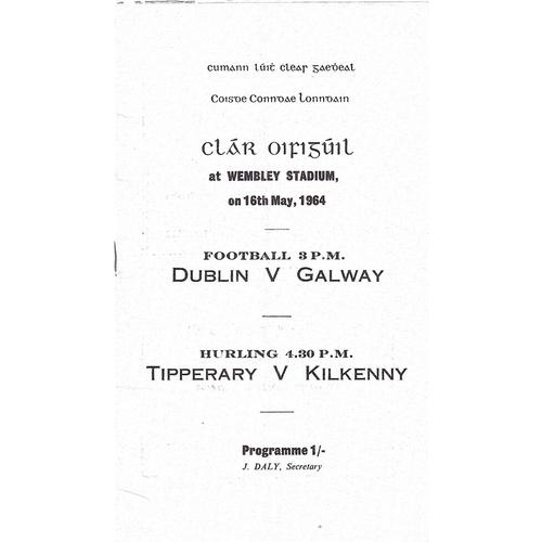 1964 Wembley Gaelic Games (Dublin v Galway & Tipperary v Kilkenny) Programme