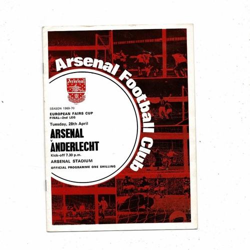 1970 Arsenal v Anderlecht UEFA Fairs Cup Final Football Programme