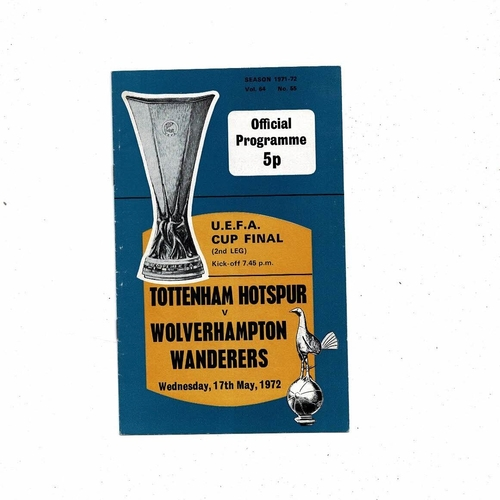 1972 Tottenham Hotspur v Wolves UEFA Fairs Cup Final Football Programme
