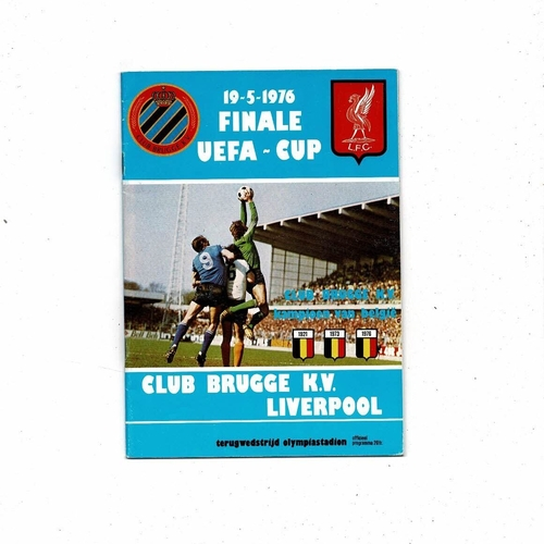 1976 Club Brugge v Liverpool UEFA Cup Final Football Programme