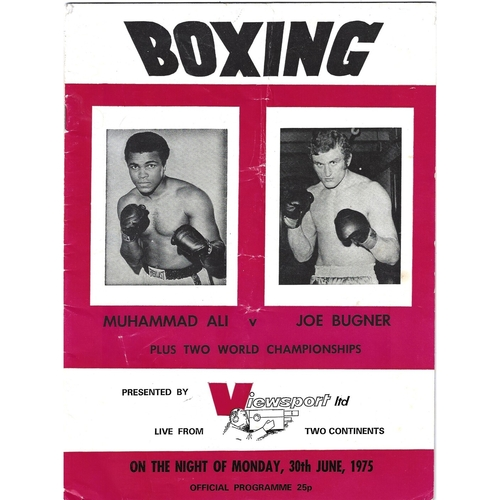 1975 Muhammad Ali v Joe Bugner (Viewsport) Boxing Programme