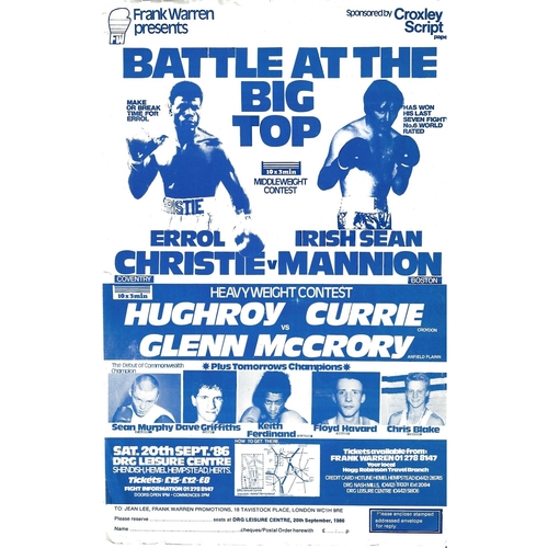 1986 Errol Christie v Irish Sean Mannion Boxing Flyer