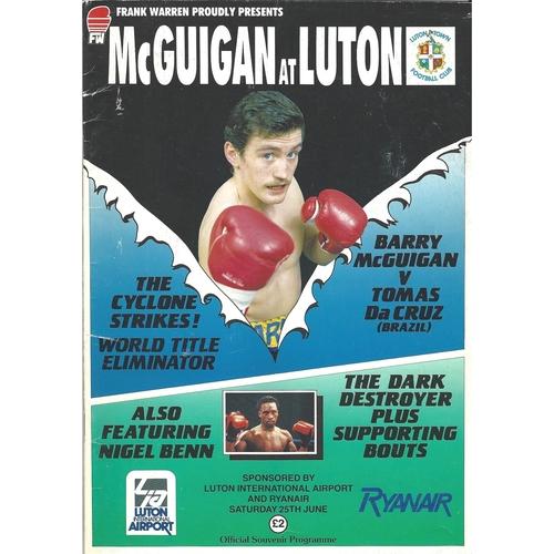 1986 Barry McGuigan v Tomas Da Cruz Boxing Programme
