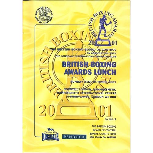 2001 British Boxing Awards Programme