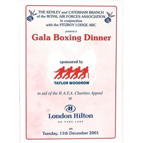 2001 Royal Air Forces Association Gala Boxing Dinner Programme