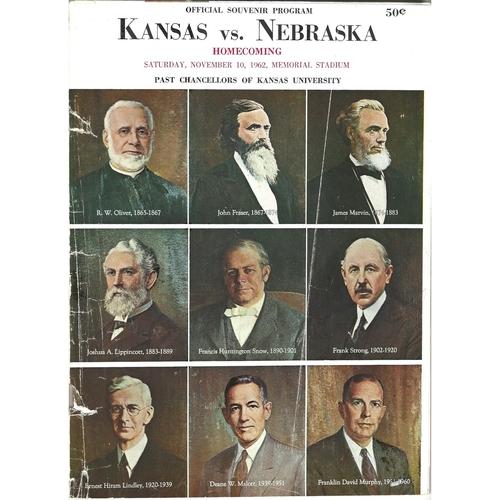 1962 Kansas v Nebraska College Football Programme