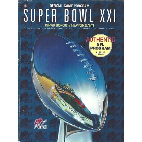1987 Denver Broncos v New York Giants Super Bowl XXI National Football League Programme