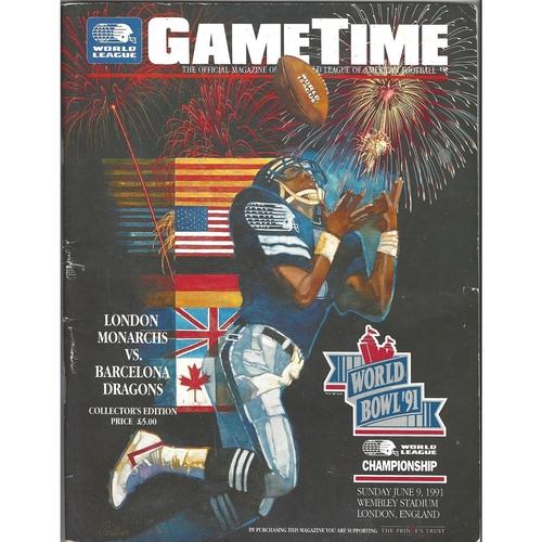 1991 London Monarchs v Barcelona Dragons World Bowl 1991 World League of Americal Football Programme