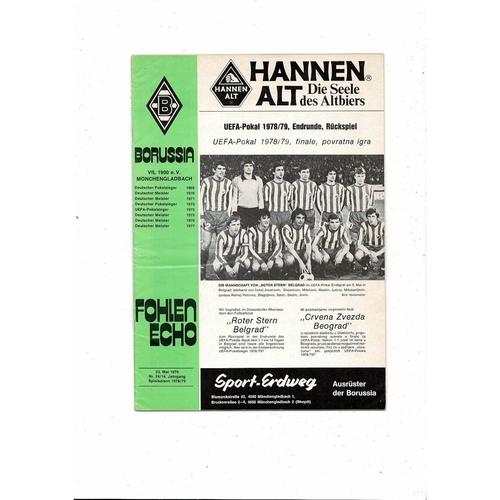 1979 Borussia MG v Red Star UEFA Cup Final Football Programme