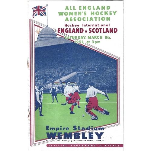 1952 England v Scotland women's International Hockey Programme