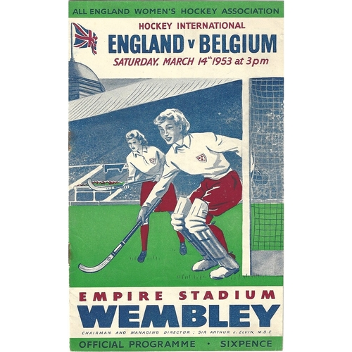 1953 England v Belgium Women's International Hockey Programme