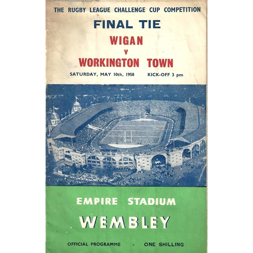 1958 Wigan v Workington Town Rugby League Challenge Cup Final Programme