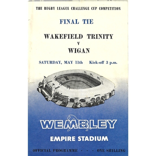 1963 Wakefield Trinity v Wigan Rugby League Challenge Cup Final Programme