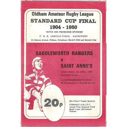 1980 Saddleworth Rangers v Saint Anne's Standard Cup Final Rugby League Programme