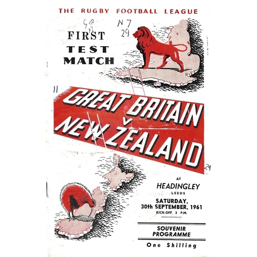 1961 Great Britain v New Zealand First Test Match Rugby League Programme