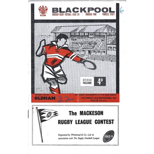 1963/64 Blackpool Borough v Oldham Rugby League Programme
