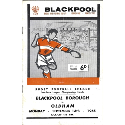 1964/65 Blackpool Borough v Oldham Rugby League Programme