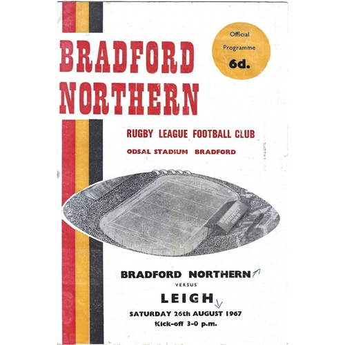 1967/68 Bradford Northern v Leigh Rugby League Programme