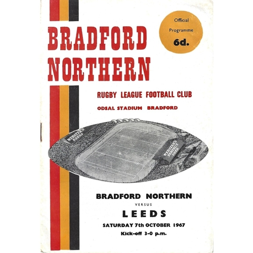 1967/68 Bradford Northern v Leeds Rugby League Programme