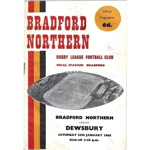 1967/68 Bradford Northern v Dewsbury Rugby League Programme
