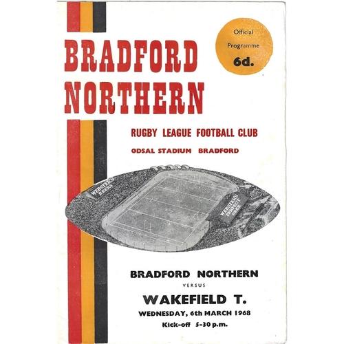 1967/68 Bradford Northern v Wakefield Trinity Rugby League Programme